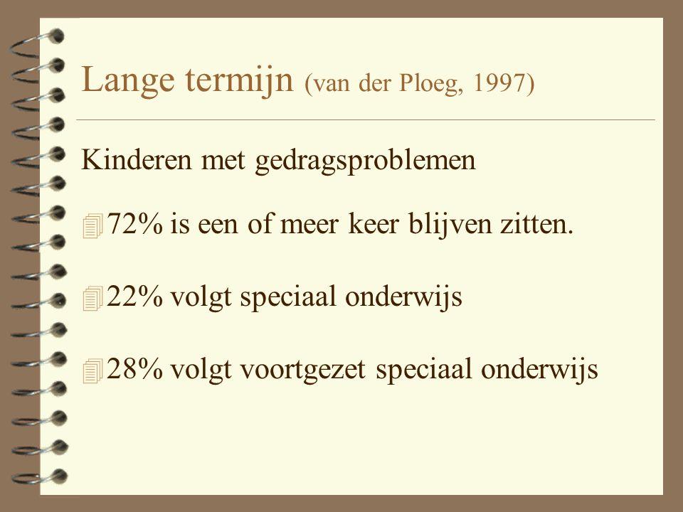 Lange termijn (van der Ploeg, 1997) Kinderen met gedragsproblemen 4 72% is een of meer keer blijven zitten. 4 22% volgt speciaal onderwijs 4 28% volgt