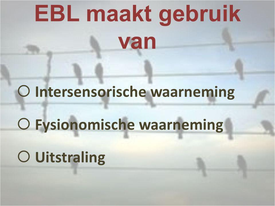 EBL maakt gebruik van  Intersensorische waarneming  Fysionomische waarneming  Uitstraling