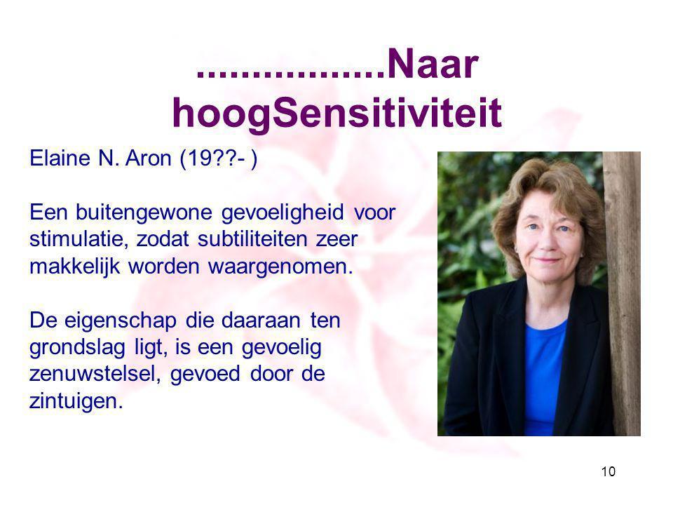 .................Naar hoogSensitiviteit 10 Elaine N. Aron (19??- ) Een buitengewone gevoeligheid voor stimulatie, zodat subtiliteiten zeer makkelijk w