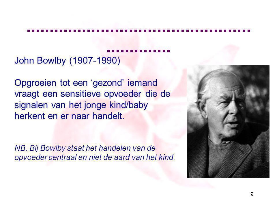 .............................................................. 9 John Bowlby (1907-1990) Opgroeien tot een 'gezond' iemand vraagt een sensitieve opvoe