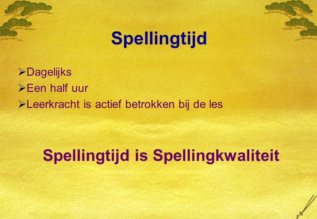 Spellingtijd  Dagelijks  Een half uur  Leerkracht is actief betrokken bij de les Spellingtijd is Spellingkwaliteit