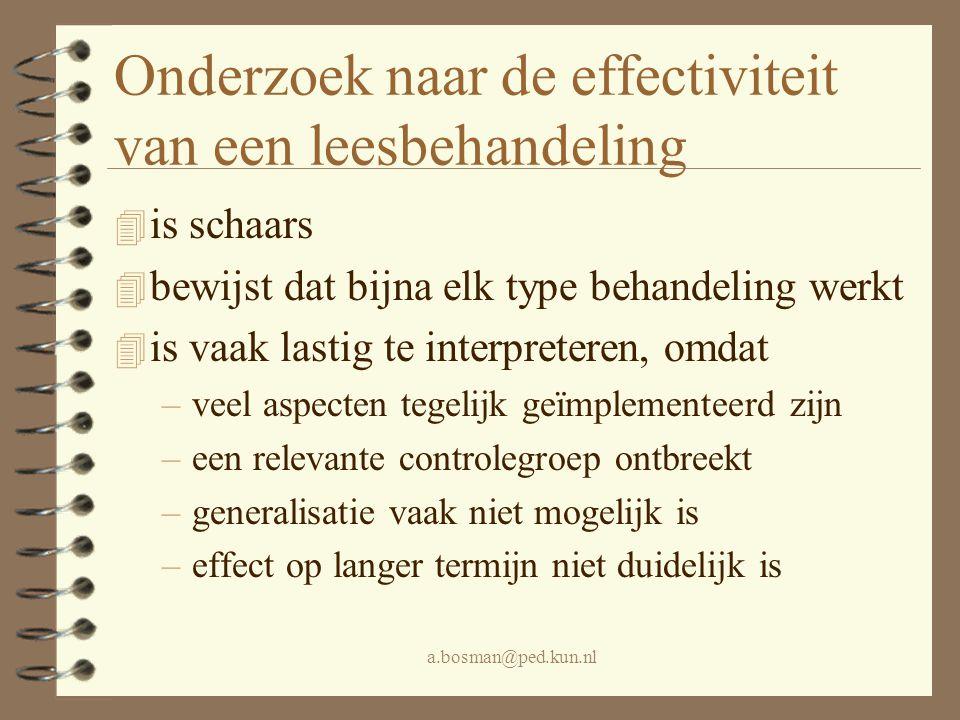 a.bosman@ped.kun.nl De meeste leesbehandelingen 4 vinden eens per week plaats 4 worden uitgevoerd door professionals 4 worden gegeven als kinderen meer dan een jaar achterlopen 4 lijken systematisch 4 zijn gebaseerd op de gedachte dat lezen fundamenteel fonologisch gemedieerd is