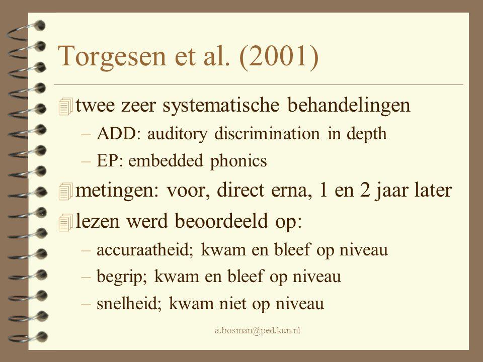 a.bosman@ped.kun.nl Torgesen et al. (2001) 4 twee zeer systematische behandelingen –ADD: auditory discrimination in depth –EP: embedded phonics 4 meti