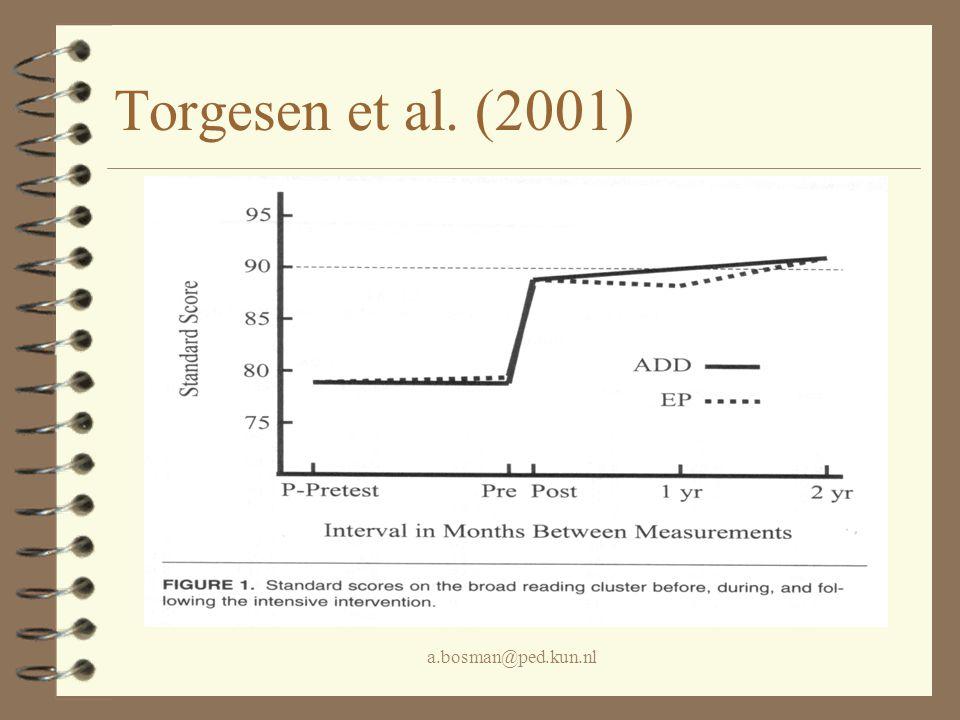 a.bosman@ped.kun.nl Aspecten die een leestraining effectief lijken te maken 4 intensief (twee maal 1 uur per dag) 4 elke dag 4 één-op-één 4 ervaren behandelaar 4 systematisch en afgestemd op het niveau 4 veel herhaling (overlearning) 4 (veel positieve feedback)