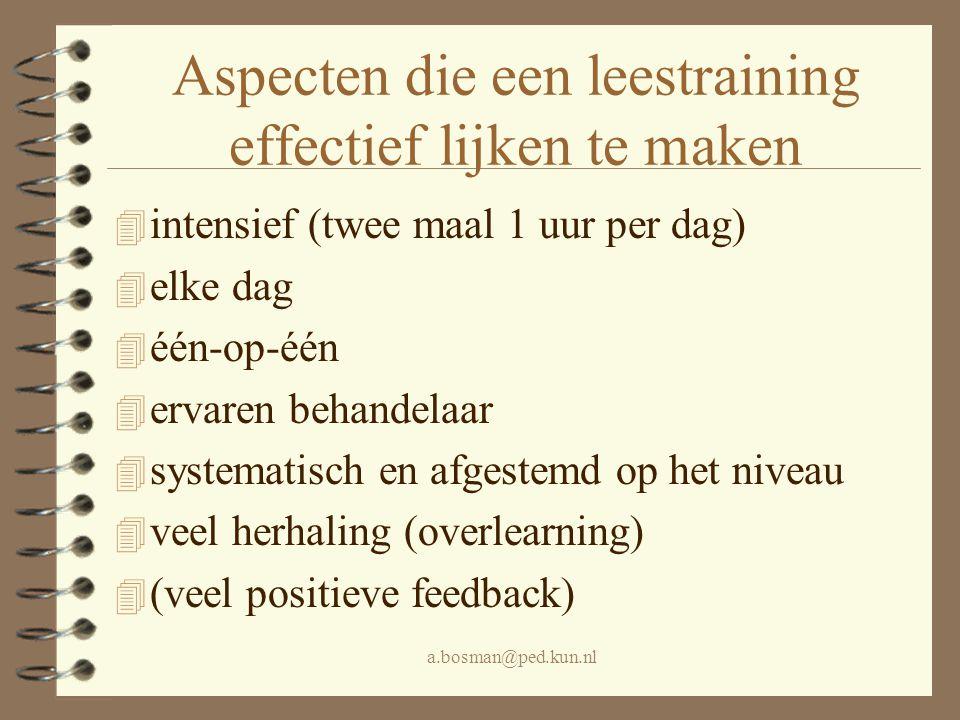 a.bosman@ped.kun.nl Aspecten die een leestraining effectief lijken te maken 4 intensief (twee maal 1 uur per dag) 4 elke dag 4 één-op-één 4 ervaren be