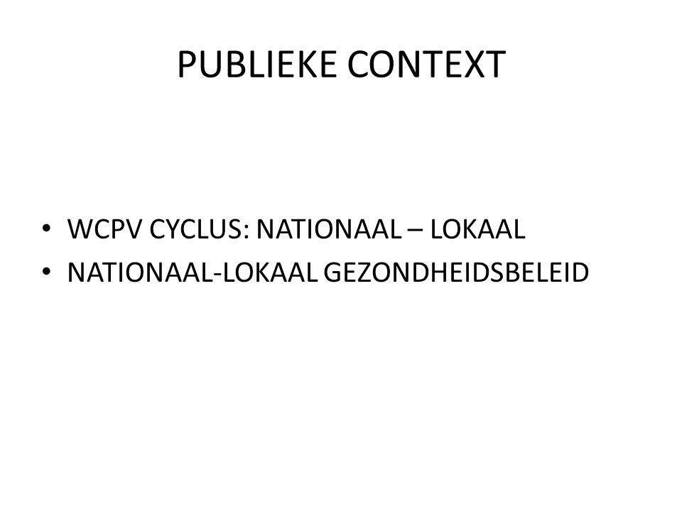 PUBLIEKE CONTEXT WCPV CYCLUS: NATIONAAL – LOKAAL NATIONAAL-LOKAAL GEZONDHEIDSBELEID