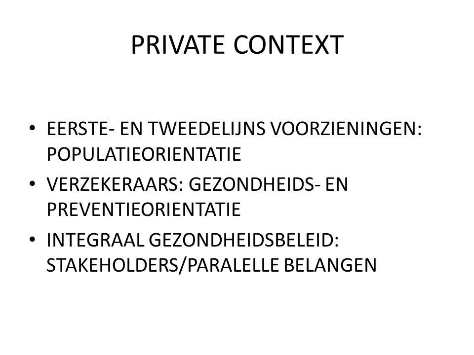 PRIVATE CONTEXT EERSTE- EN TWEEDELIJNS VOORZIENINGEN: POPULATIEORIENTATIE VERZEKERAARS: GEZONDHEIDS- EN PREVENTIEORIENTATIE INTEGRAAL GEZONDHEIDSBELEID: STAKEHOLDERS/PARALELLE BELANGEN