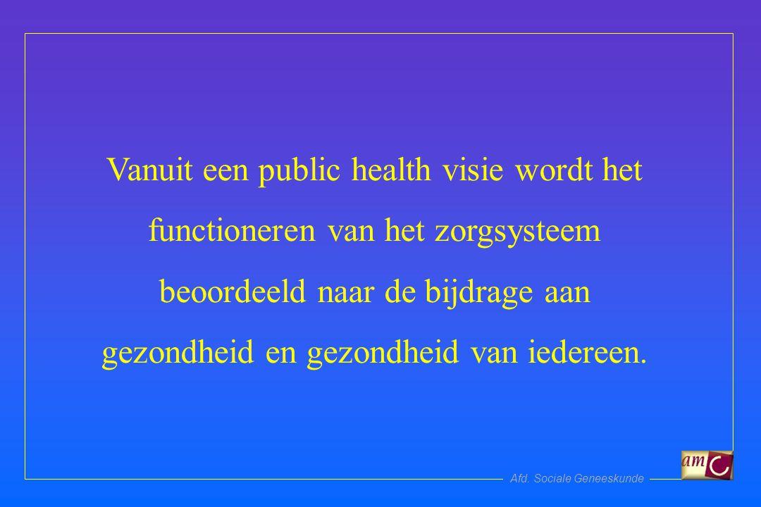 Afd. Sociale Geneeskunde Vanuit een public health visie wordt het functioneren van het zorgsysteem beoordeeld naar de bijdrage aan gezondheid en gezon