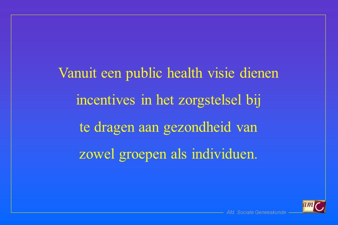 Afd. Sociale Geneeskunde Vanuit een public health visie dienen incentives in het zorgstelsel bij te dragen aan gezondheid van zowel groepen als indivi
