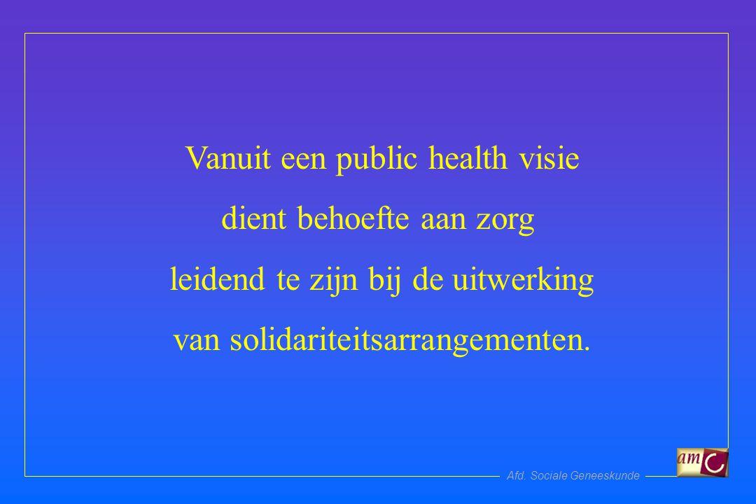 Afd. Sociale Geneeskunde Vanuit een public health visie dient behoefte aan zorg leidend te zijn bij de uitwerking van solidariteitsarrangementen.