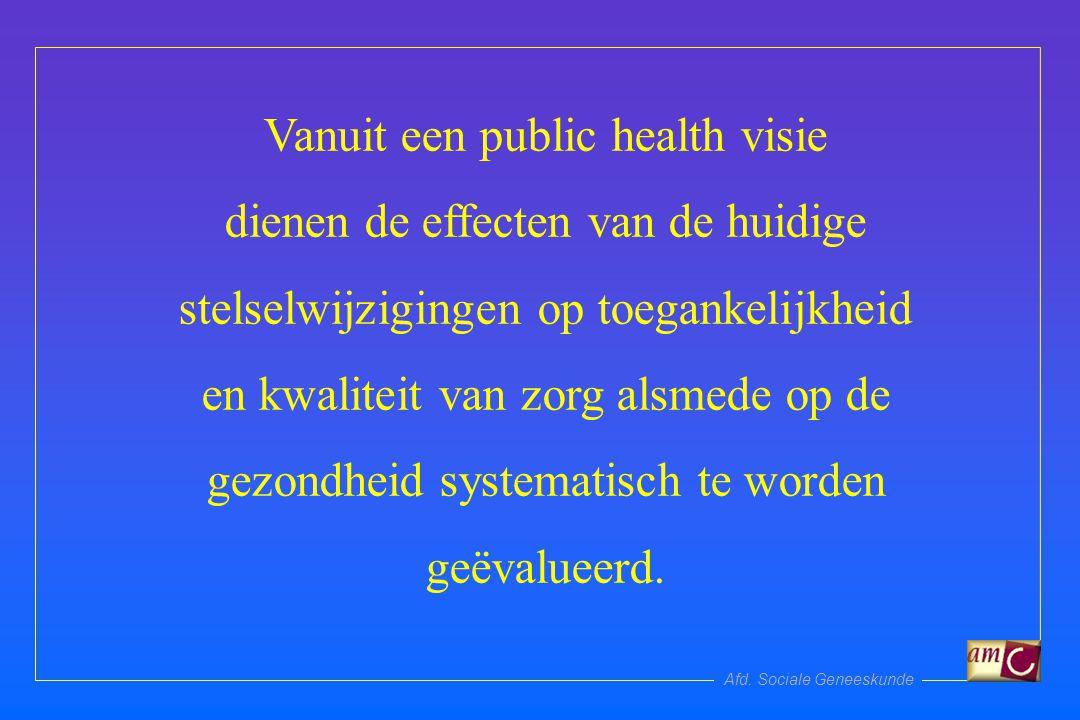 Afd. Sociale Geneeskunde Vanuit een public health visie dienen de effecten van de huidige stelselwijzigingen op toegankelijkheid en kwaliteit van zorg