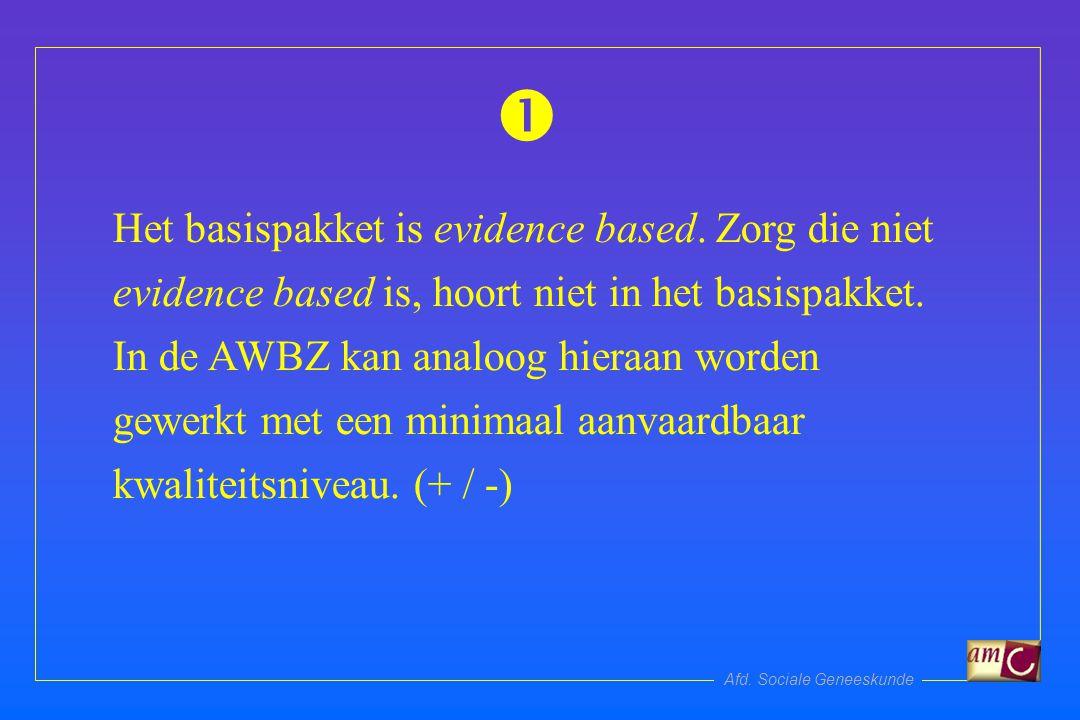 Afd. Sociale Geneeskunde Het basispakket is evidence based.