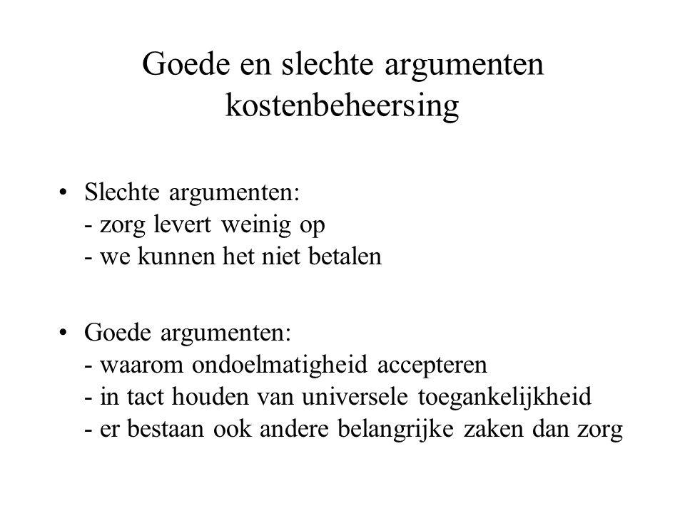 Goede en slechte argumenten kostenbeheersing Slechte argumenten: - zorg levert weinig op - we kunnen het niet betalen Goede argumenten: - waarom ondoe