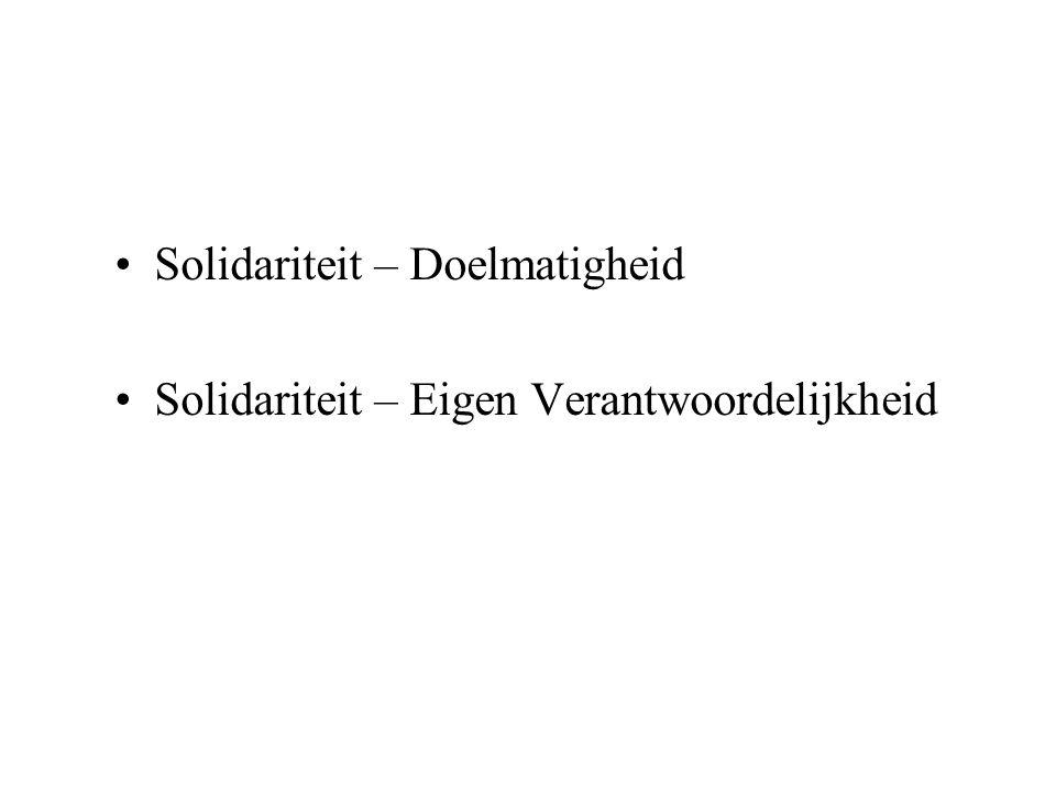 Solidariteit – Doelmatigheid Solidariteit – Eigen Verantwoordelijkheid