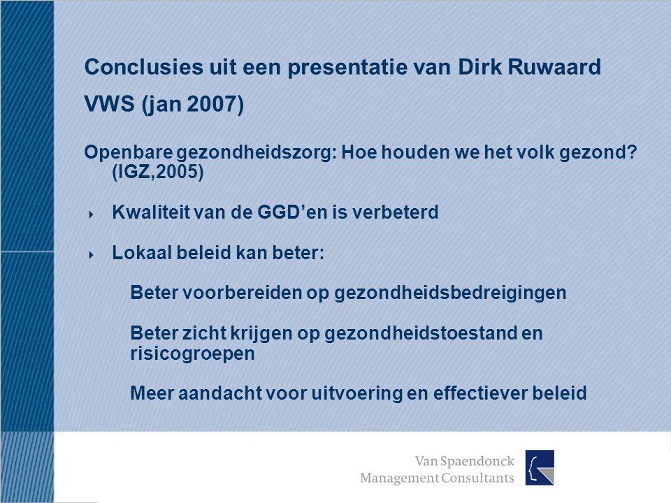 Conclusies uit een presentatie van Dirk Ruwaard VWS (jan 2007) Openbare gezondheidszorg: Hoe houden we het volk gezond.