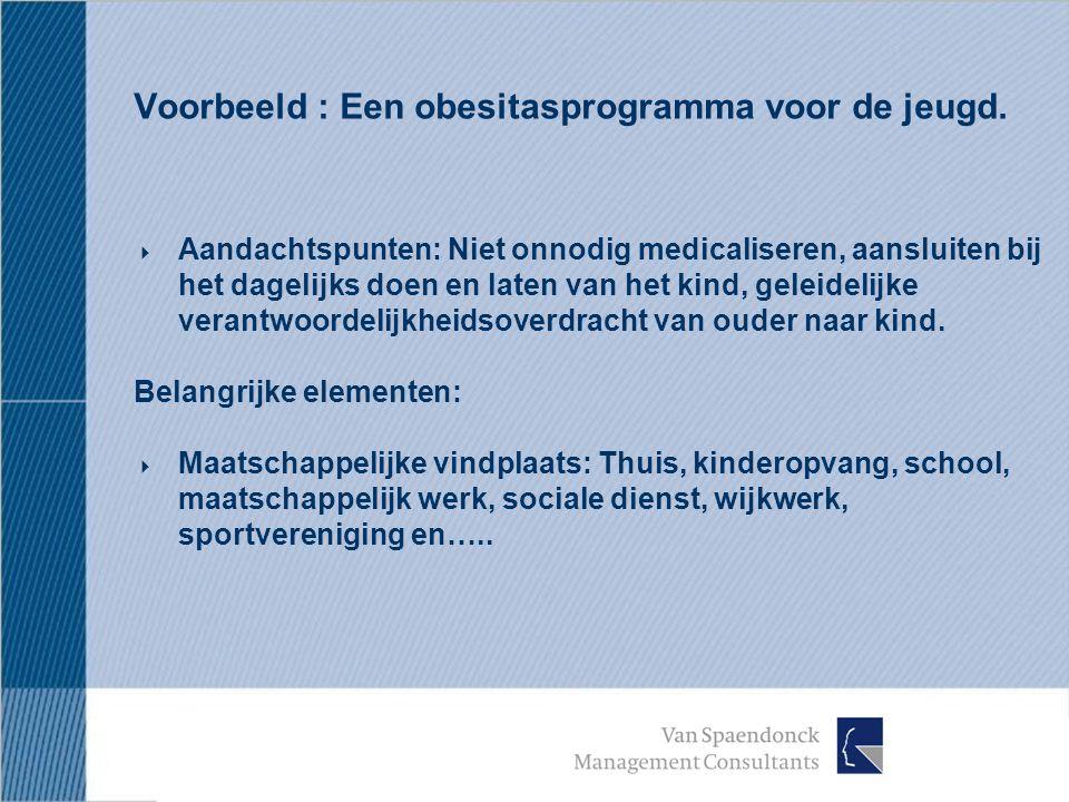 Voorbeeld : Een obesitasprogramma voor de jeugd.