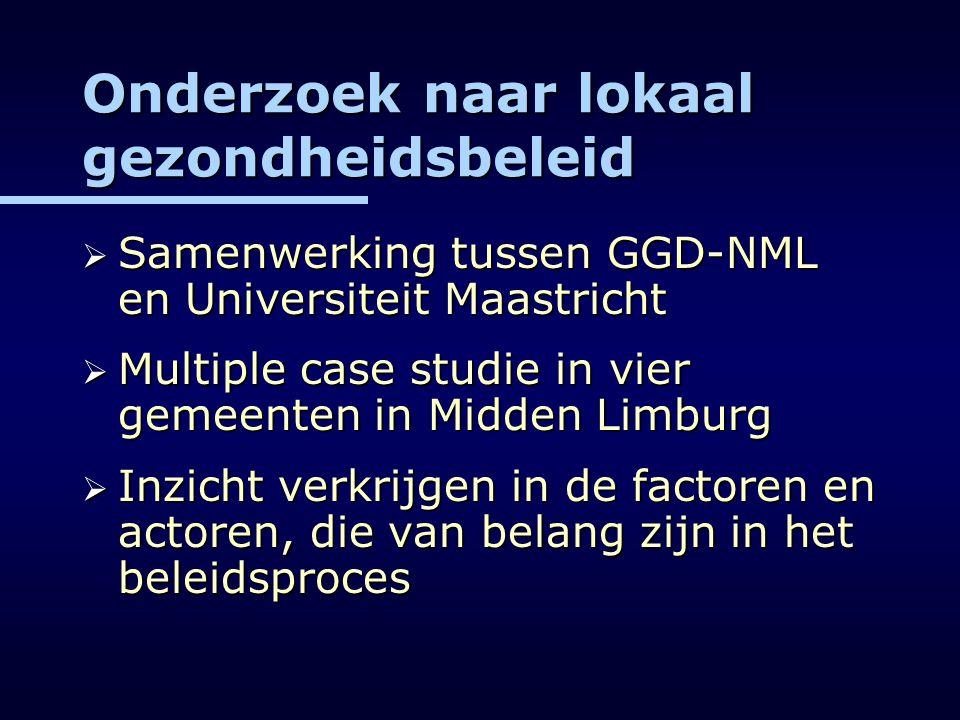 Onderzoek naar lokaal gezondheidsbeleid  Samenwerking tussen GGD-NML en Universiteit Maastricht  Multiple case studie in vier gemeenten in Midden Li