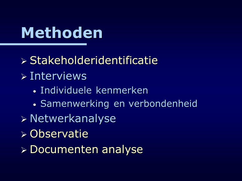 Methoden  Stakeholderidentificatie  Interviews Individuele kenmerken Individuele kenmerken Samenwerking en verbondenheid Samenwerking en verbondenhe
