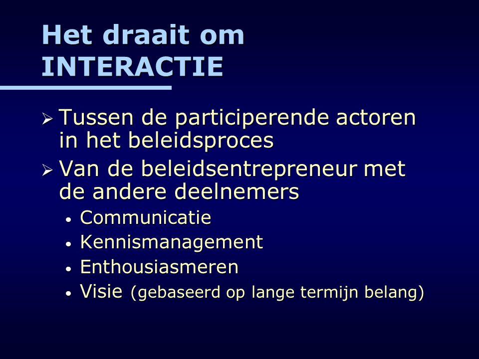 Het draait om INTERACTIE  Tussen de participerende actoren in het beleidsproces  Van de beleidsentrepreneur met de andere deelnemers Communicatie Co