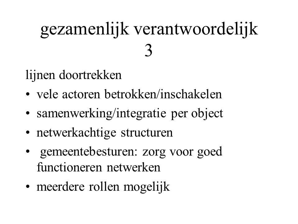 gezamenlijk verantwoordelijk 3 lijnen doortrekken vele actoren betrokken/inschakelen samenwerking/integratie per object netwerkachtige structuren geme