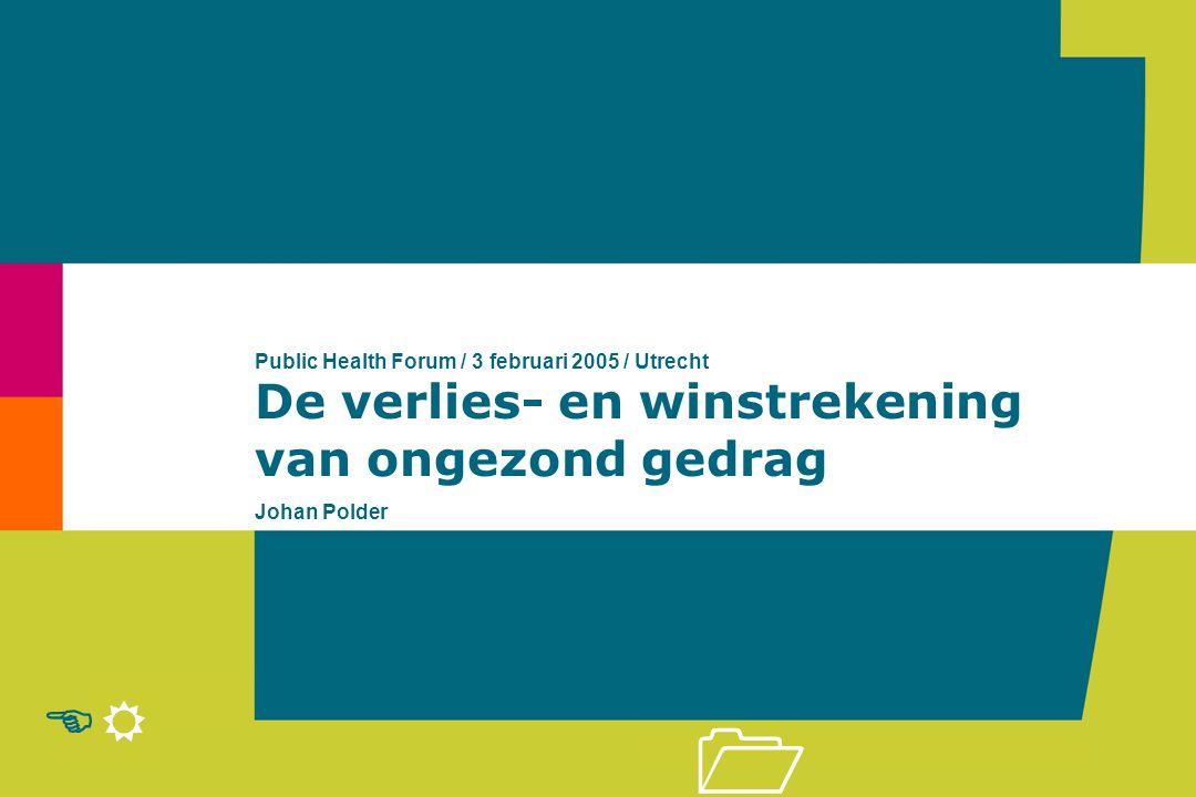 R E 1 De verlies- en winstrekening van ongezond gedrag Public Health Forum / 3 februari 2005 / Utrecht Johan Polder