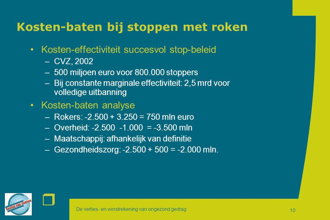 De verlies- en winstrekening van ongezond gedrag r 10 Kosten-baten bij stoppen met roken Kosten-effectiviteit succesvol stop-beleid –CVZ, 2002 –500 miljoen euro voor 800.000 stoppers –Bij constante marginale effectiviteit: 2,5 mrd voor volledige uitbanning Kosten-baten analyse –Rokers: -2.500 + 3.250 = 750 mln euro –Overheid: -2.500 -1.000 = -3.500 mln –Maatschappij: afhankelijk van definitie –Gezondheidszorg: -2.500 + 500 = -2.000 mln.