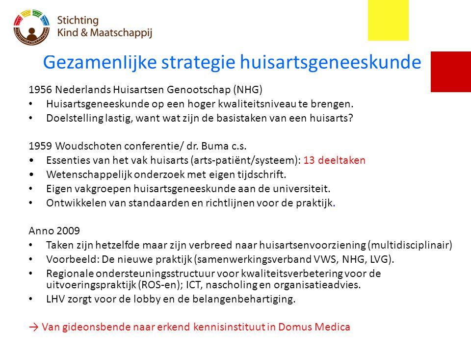 Gezamenlijke strategie huisartsgeneeskunde 1956 Nederlands Huisartsen Genootschap (NHG) Huisartsgeneeskunde op een hoger kwaliteitsniveau te brengen.