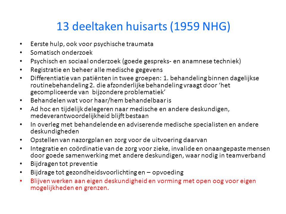 13 deeltaken huisarts (1959 NHG) Eerste hulp, ook voor psychische traumata Somatisch onderzoek Psychisch en sociaal onderzoek (goede gespreks- en anam