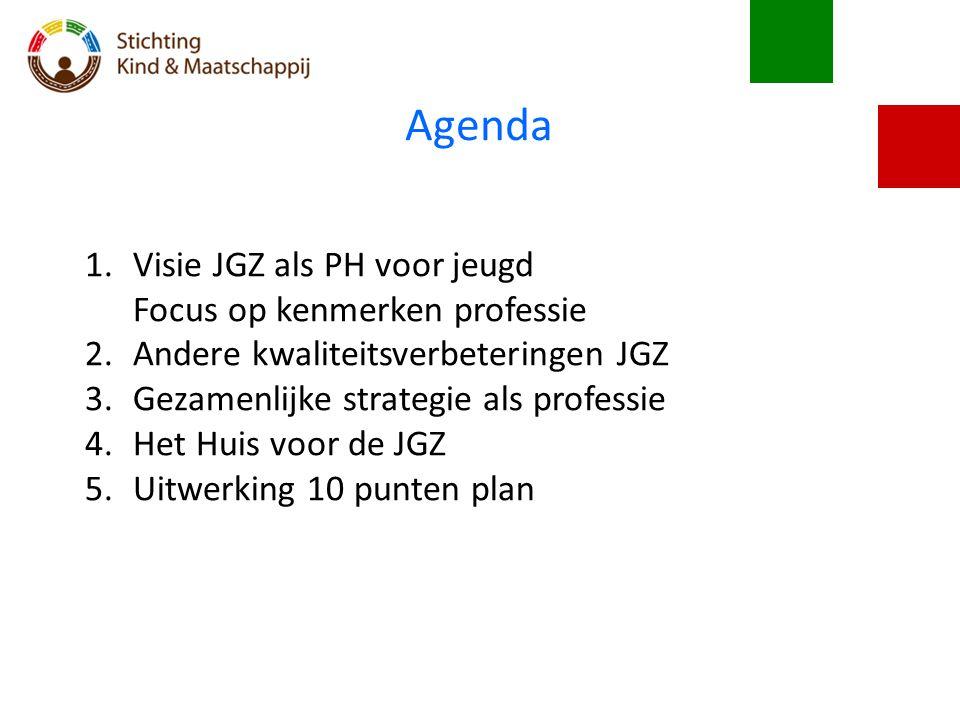 Agenda 1.Visie JGZ als PH voor jeugd Focus op kenmerken professie 2.Andere kwaliteitsverbeteringen JGZ 3.Gezamenlijke strategie als professie 4.Het Hu