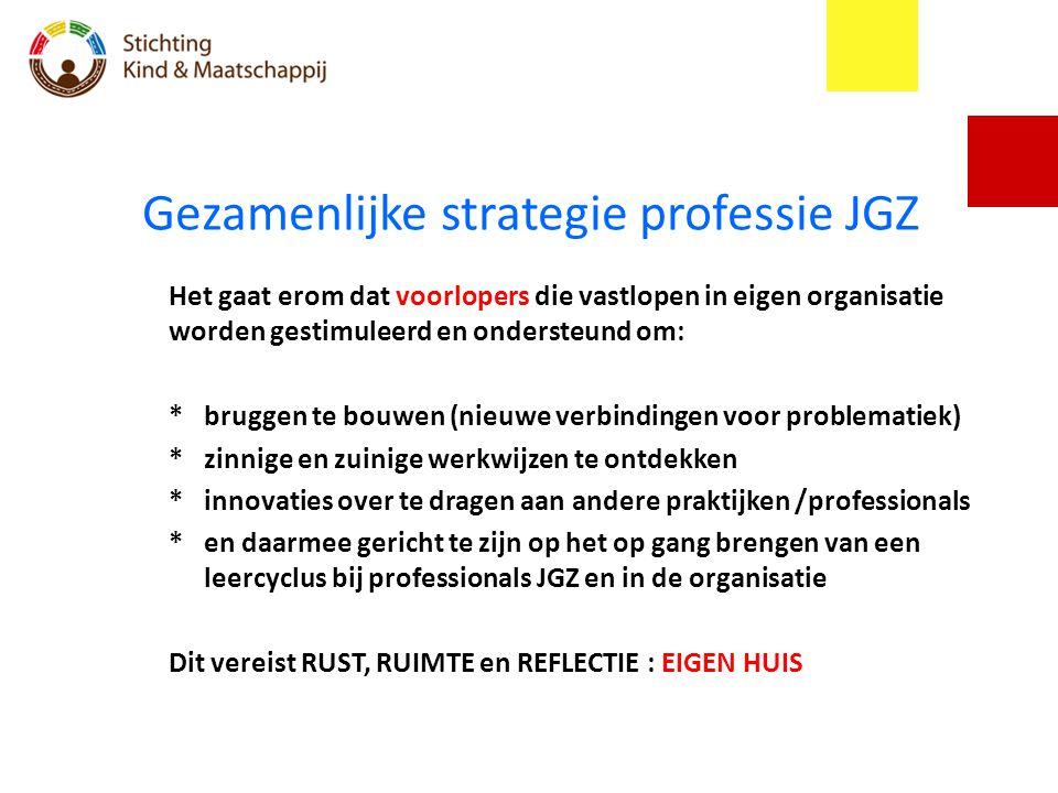 Gezamenlijke strategie professie JGZ Het gaat erom dat voorlopers die vastlopen in eigen organisatie worden gestimuleerd en ondersteund om: *bruggen t