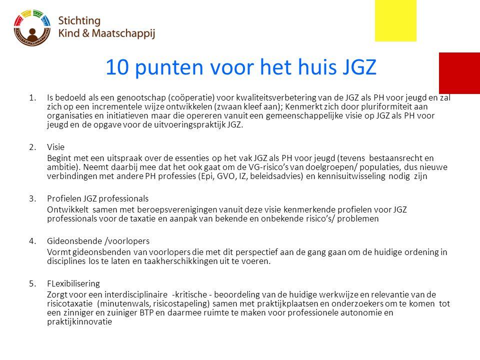 10 punten voor het huis JGZ 1.Is bedoeld als een genootschap (coöperatie) voor kwaliteitsverbetering van de JGZ als PH voor jeugd en zal zich op een i