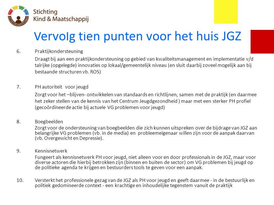 Vervolg tien punten voor het huis JGZ 6.Praktijkondersteuning Draagt bij aan een praktijkondersteuning op gebied van kwaliteitsmanagement en implement