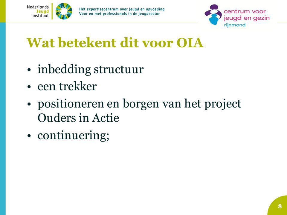 Wat betekent dit voor OIA inbedding structuur een trekker positioneren en borgen van het project Ouders in Actie continuering; 8