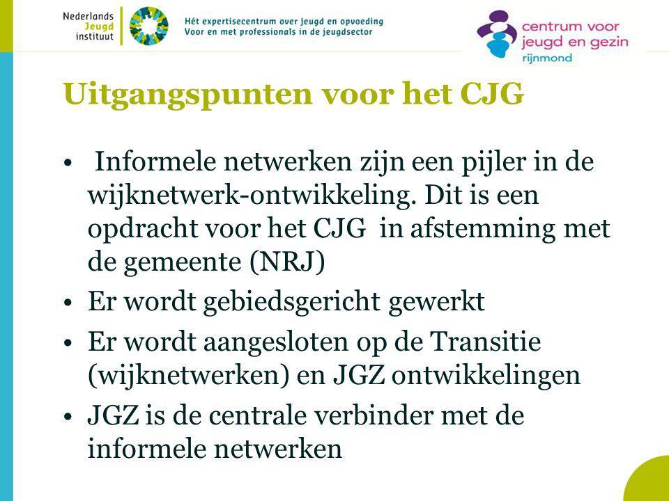 Uitgangspunten voor het CJG Informele netwerken zijn een pijler in de wijknetwerk-ontwikkeling.