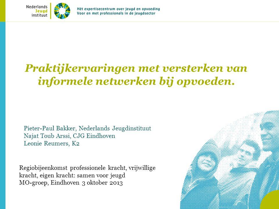 Praktijkervaringen met versterken van informele netwerken bij opvoeden. Pieter-Paul Bakker, Nederlands Jeugdinstituut Najat Toub Arssi, CJG Eindhoven