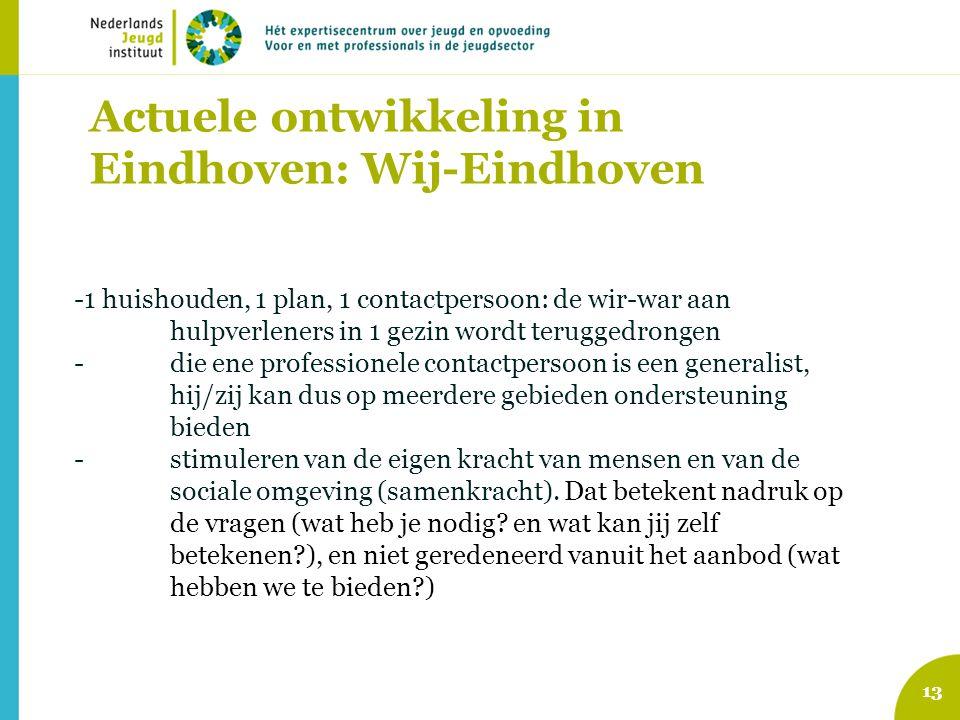 Actuele ontwikkeling in Eindhoven: Wij-Eindhoven -1 huishouden, 1 plan, 1 contactpersoon: de wir-war aan hulpverleners in 1 gezin wordt teruggedrongen