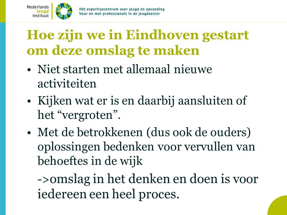 """Hoe zijn we in Eindhoven gestart om deze omslag te maken Niet starten met allemaal nieuwe activiteiten Kijken wat er is en daarbij aansluiten of het """""""
