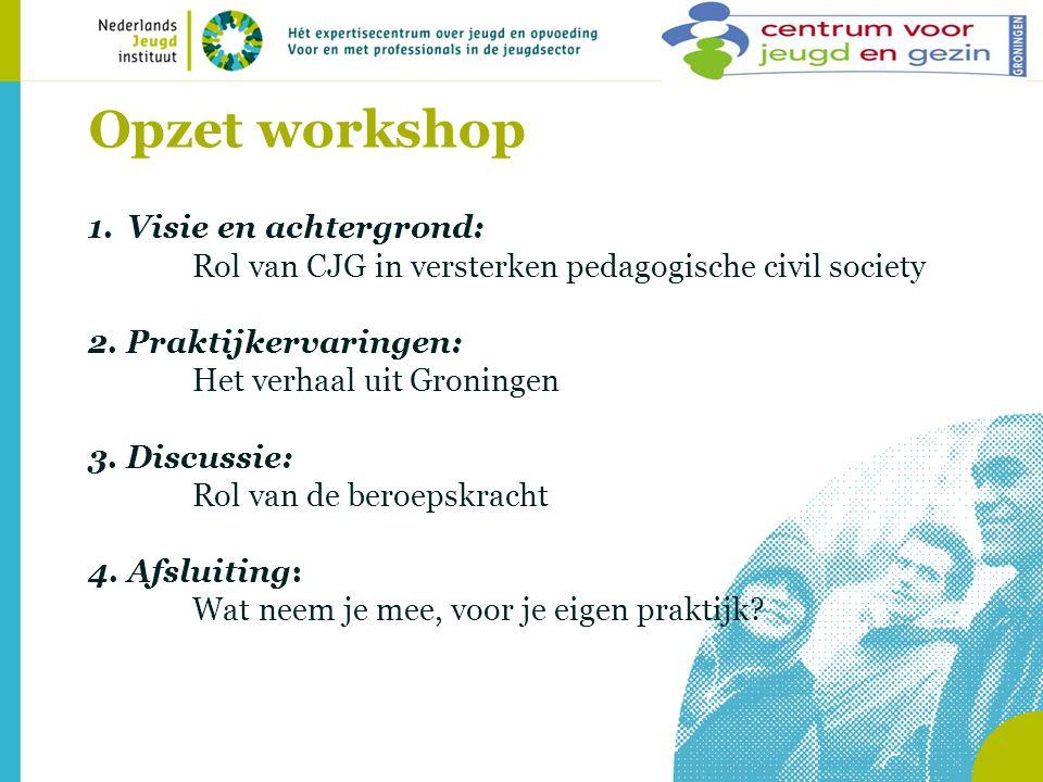 Opzet workshop 1.Visie en achtergrond: Rol van CJG in versterken pedagogische civil society 2.