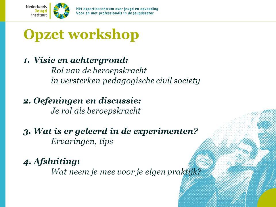 Opzet workshop 1.Visie en achtergrond: Rol van de beroepskracht in versterken pedagogische civil society 2.
