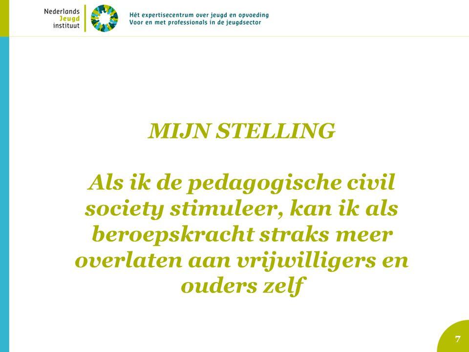 MIJN STELLING Als ik de pedagogische civil society stimuleer, kan ik als beroepskracht straks meer overlaten aan vrijwilligers en ouders zelf 7