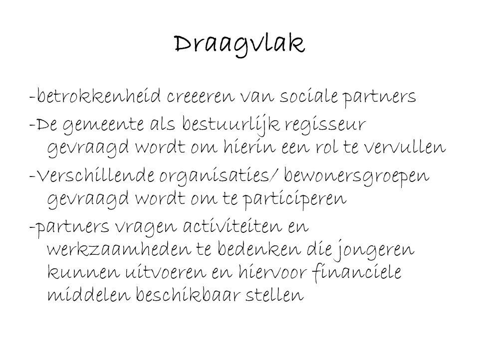Draagvlak -betrokkenheid creeeren van sociale partners -De gemeente als bestuurlijk regisseur gevraagd wordt om hierin een rol te vervullen -Verschill