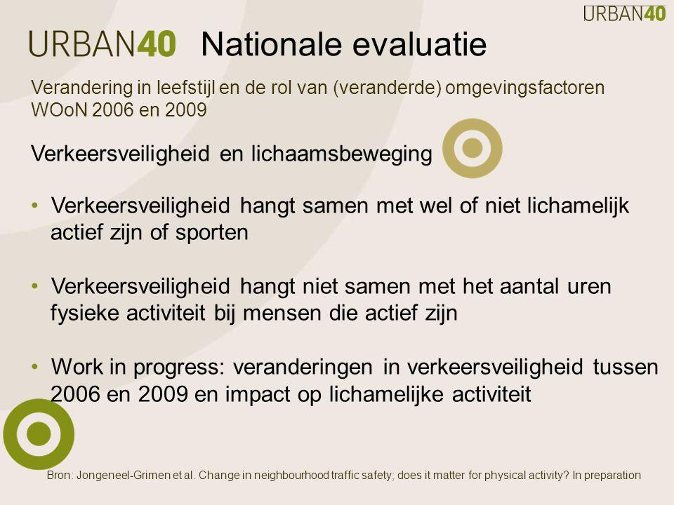 Nationale evaluatie Verandering in leefstijl en de rol van (veranderde) omgevingsfactoren WOoN 2006 en 2009 Verkeersveiligheid en lichaamsbeweging Verkeersveiligheid hangt samen met wel of niet lichamelijk actief zijn of sporten Verkeersveiligheid hangt niet samen met het aantal uren fysieke activiteit bij mensen die actief zijn Work in progress: veranderingen in verkeersveiligheid tussen 2006 en 2009 en impact op lichamelijke activiteit Bron: Jongeneel-Grimen et al.