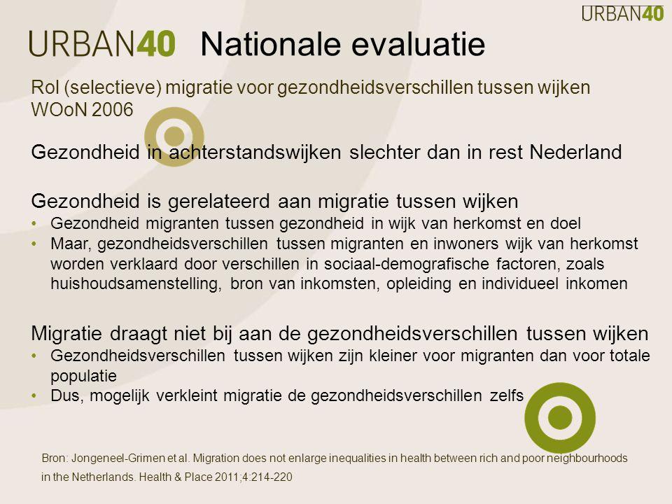 Nationale evaluatie Rol (selectieve) migratie voor gezondheidsverschillen tussen wijken WOoN 2006 Gezondheid in achterstandswijken slechter dan in rest Nederland Gezondheid is gerelateerd aan migratie tussen wijken Gezondheid migranten tussen gezondheid in wijk van herkomst en doel Maar, gezondheidsverschillen tussen migranten en inwoners wijk van herkomst worden verklaard door verschillen in sociaal-demografische factoren, zoals huishoudsamenstelling, bron van inkomsten, opleiding en individueel inkomen Migratie draagt niet bij aan de gezondheidsverschillen tussen wijken Gezondheidsverschillen tussen wijken zijn kleiner voor migranten dan voor totale populatie Dus, mogelijk verkleint migratie de gezondheidsverschillen zelfs Bron: Jongeneel-Grimen et al.