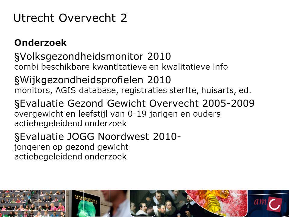 Utrecht Overvecht 2 Onderzoek § Volksgezondheidsmonitor 2010 combi beschikbare kwantitatieve en kwalitatieve info § Wijkgezondheidsprofielen 2010 moni