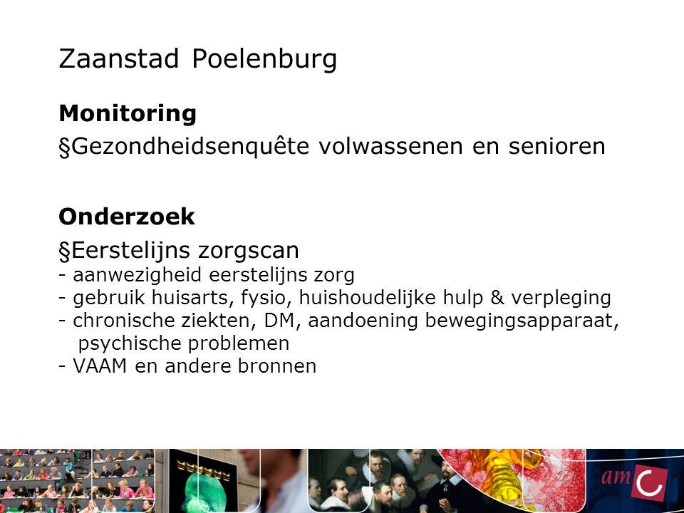 Zaanstad Poelenburg Monitoring § Gezondheidsenquête volwassenen en senioren Onderzoek § Eerstelijns zorgscan - aanwezigheid eerstelijns zorg - gebruik