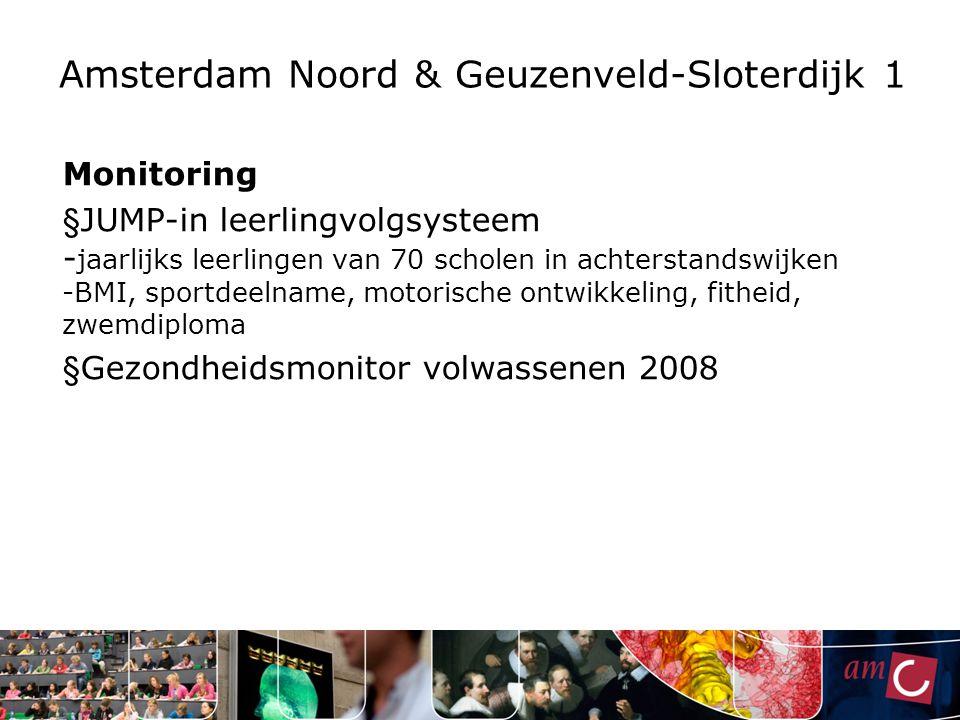 Amsterdam Noord & Geuzenveld-Sloterdijk 1 Monitoring § JUMP-in leerlingvolgsysteem - jaarlijks leerlingen van 70 scholen in achterstandswijken -BMI, s
