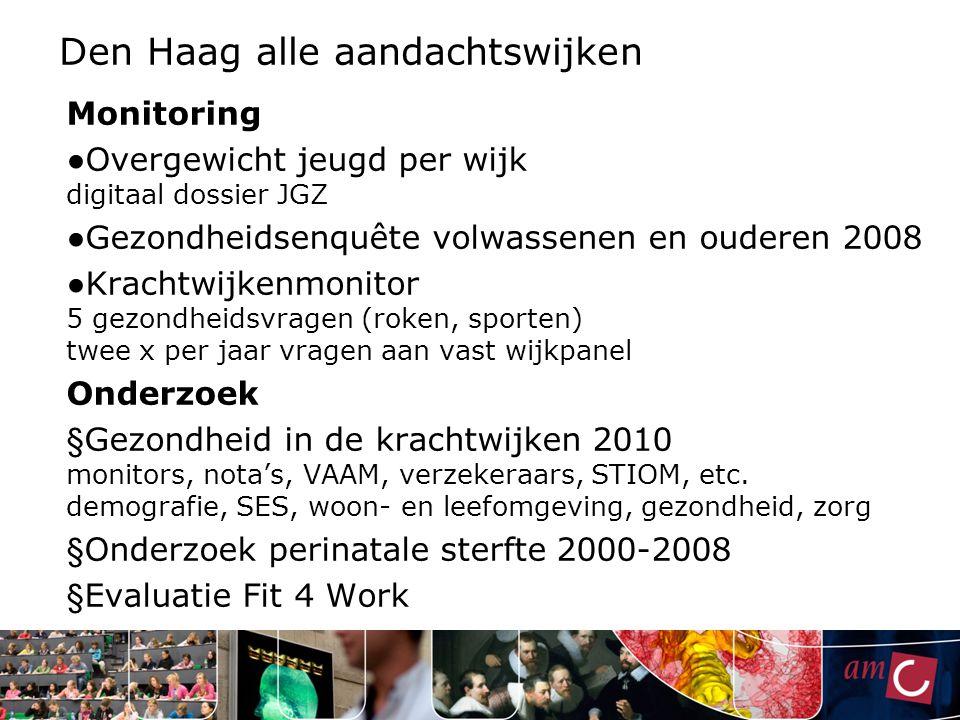 Den Haag alle aandachtswijken Monitoring ● Overgewicht jeugd per wijk digitaal dossier JGZ ● Gezondheidsenquête volwassenen en ouderen 2008 ● Krachtwi