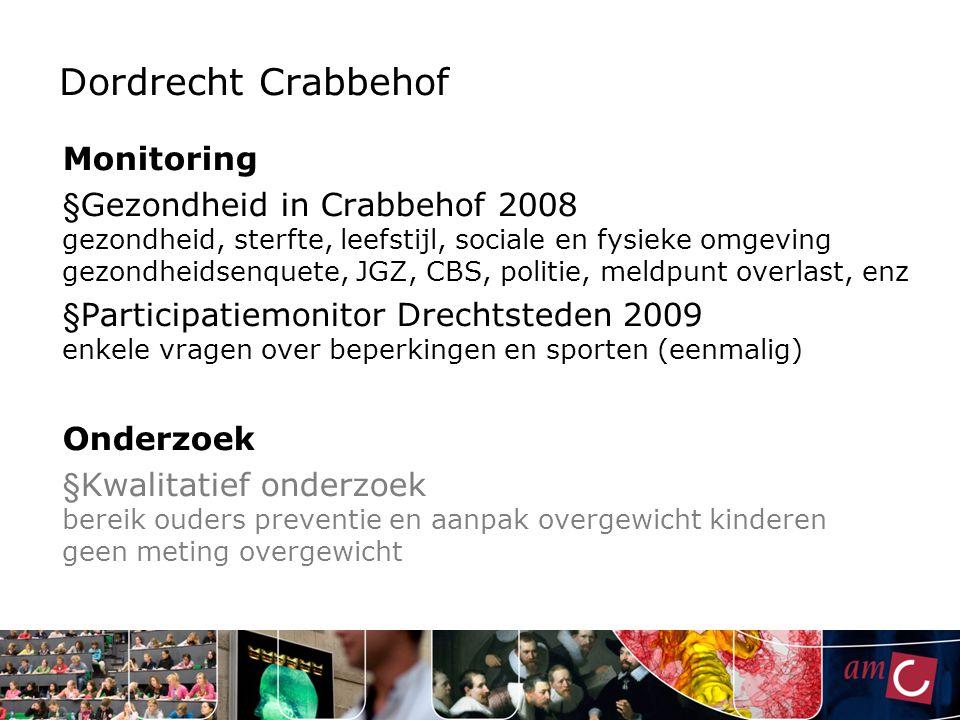 Dordrecht Crabbehof Monitoring § Gezondheid in Crabbehof 2008 gezondheid, sterfte, leefstijl, sociale en fysieke omgeving gezondheidsenquete, JGZ, CBS