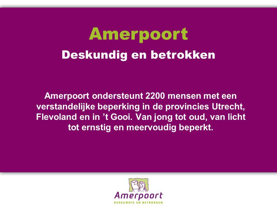 Amerpoort ondersteunt 2200 mensen met een verstandelijke beperking in de provincies Utrecht, Flevoland en in 't Gooi.