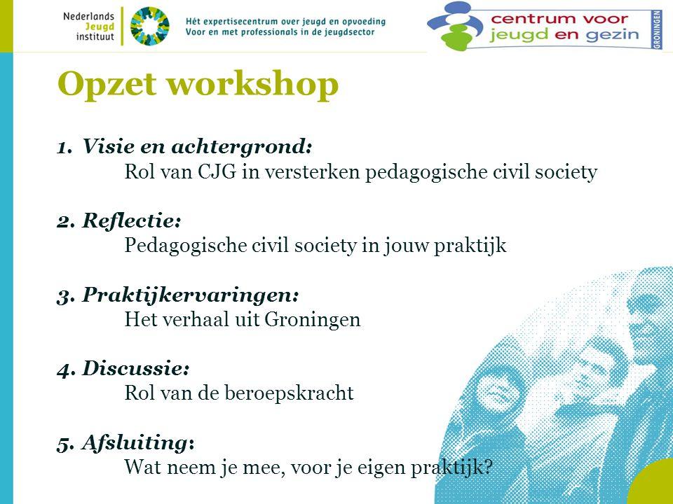 Opzet workshop 1.Visie en achtergrond: Rol van CJG in versterken pedagogische civil society 2.Reflectie: Pedagogische civil society in jouw praktijk 3